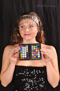 woman holding a color standard